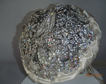 Brooch Bridal Bouquet of silver, white and Ivory brooches.