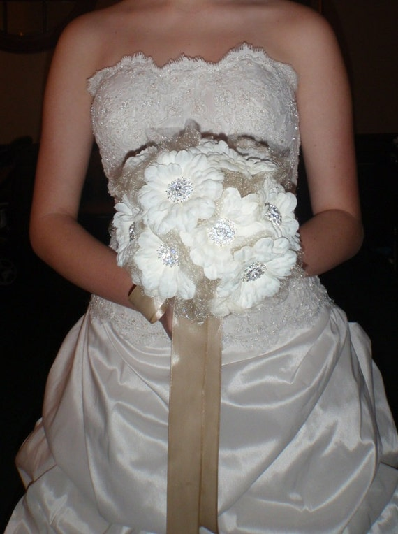 Brooch Bouquet of Silk roses and rhinestone brooches