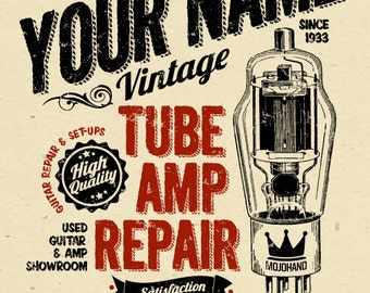 "YOUR NAME on a Guitar Tube Amp repair shop poster Personalized -custom gift - 12""x18"" novelty room decor"