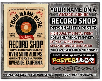 """YOUR NAME on a vinyl record shop poster Personalized -custom gift - 12""""x18"""" novelty room decor"""