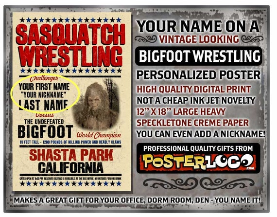 """your name on a personalized BIGFOOT WRESTLING POSTER - sasquatch - 12""""x18"""" - gift"""