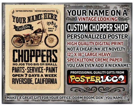 """YOUR NAME on a vintage custom chopper shop motorcycle poster Personalized -custom gift - 12""""x18"""" novelty room decor"""