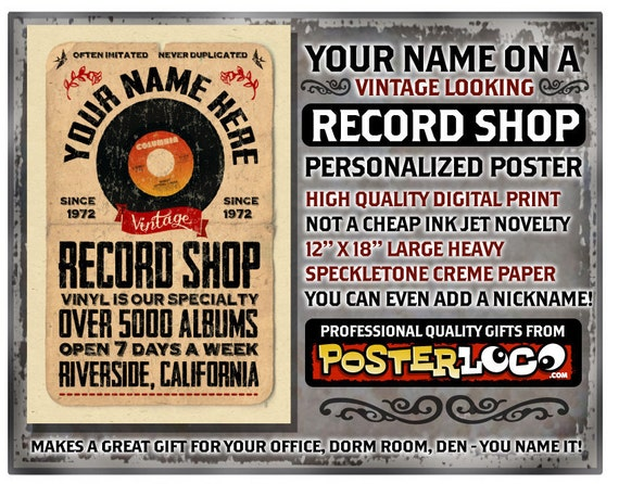 "YOUR NAME on a vinyl record shop poster Personalized -custom gift - 12""x18"" novelty room decor"