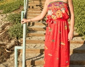 1970s red STRAPLESS maxi DRESS / Large