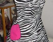 Retro 50's Style Chic Zebra Ruffled Bib Apron MADE TO ORDER sizes 6-26