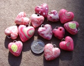 Bakers Dozen Pink Heart charms