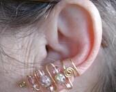 Peach crackle and Czech glass beaded earcuffs