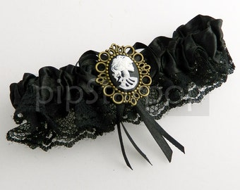 Black Garter Gothic Garter - Death Maiden design with Pink skull Cameo for the vampyress in you - Neo Victorian Gothic accessories