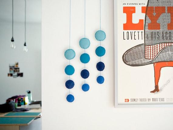 Modern Felt Mobile, 4-drop Blue Circle Color Wave