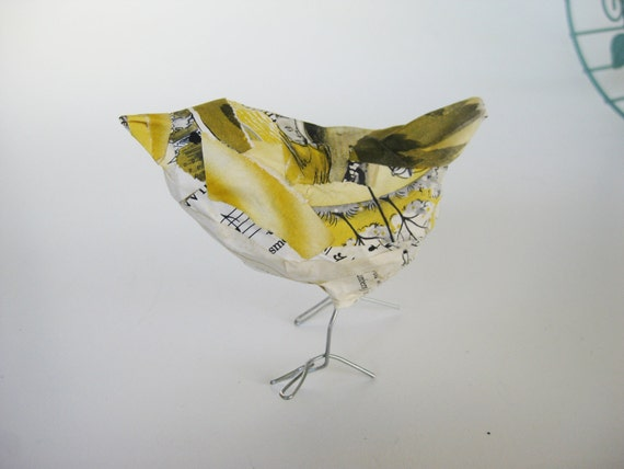 Vintage Book Pages Paper Mache Yellow Bird