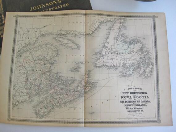 1882 Antique Map of New Brunswick, Nova Scotia, Newfoundland, Prince Edward Island and Cape Breton Island