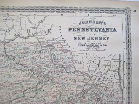 1882 Antique Map of Pennsylvania and New Jersey