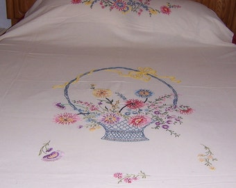 Bed Spread with Embroidery 72 x 100 Vintage 50s hand embroidery Muslin Summer Bedcover