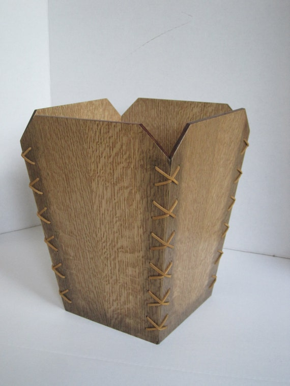 Hand made Oak waste basket in Arts and Crafts style