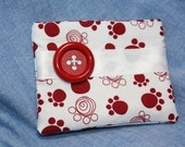 Paw Print Cotton Fabric Coin Purse with Velcro Closure