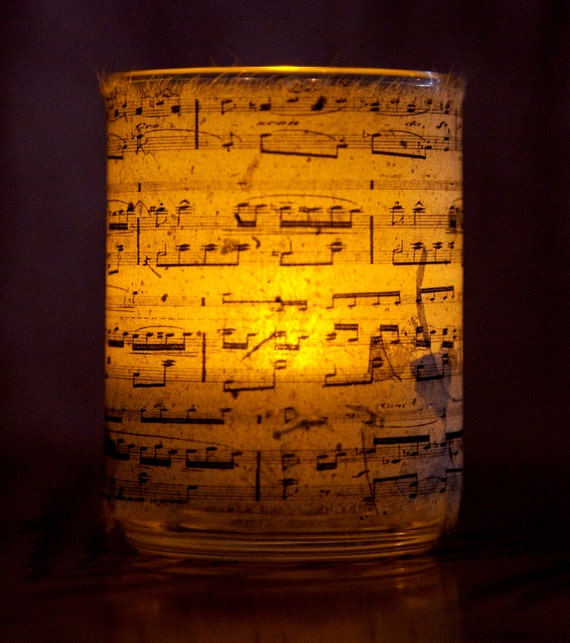 Chopin Candle holder/ luminary with real leaf paper Chopin sheet music