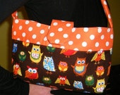 Mini Purse - Owls Orange Polka Dots