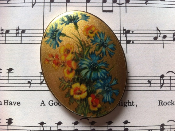 Vintage blue and Yellow Flower  Cabochon on Gold Base 40 x 30mm (APS026)