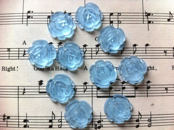 Vintage Frosted Blue Plastic Flower Cabochon 12mm (APS089)