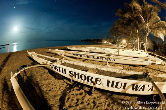 Outrigger Canoes on the Beach at Night in Haleiwa, Oahu, Hawaii