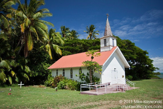 Old Historic Catholic Church Built by Father Damien on Island of Molokai in Hawaii