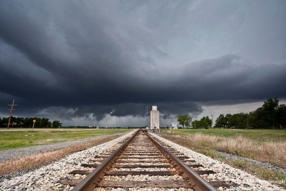 Railroad Tracks Lead to a Severe Thunderstorm in Kansas