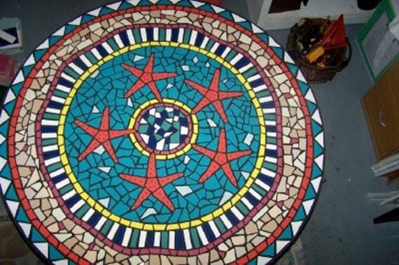 Mosaic Table, Mosaic Starfish Table,beach house, outdoor mosaic table, mosaic ocean,  seahorse, turtle mosaic, design by Jan Dineen