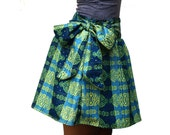 Spring Fashion Green and Blue Mini Skirt with Sash Belt - Ready to Ship