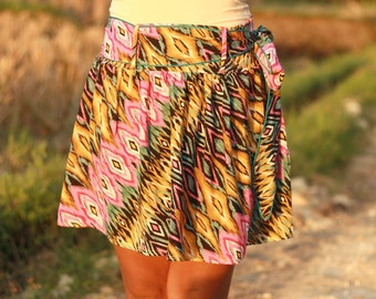 Spring Colorful Tribal Mini Skirt Pink Yellow Black and Turquoise with Sash Belt - Ready to Ship