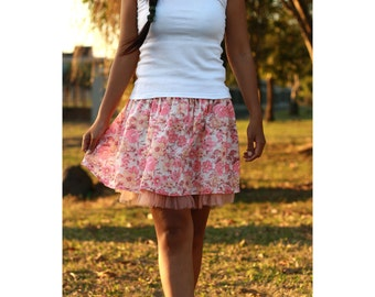 Coral Mini Skirt in Spring Floral - Ready to Ship