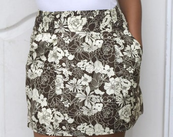 Brown Floral Mini Skirt Two Pockets - Ready to Ship