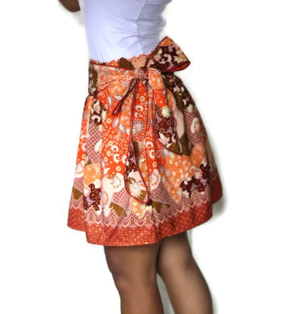 Tangerine Orange Mini Skirt with Sash - Traditional Borneo Fabric