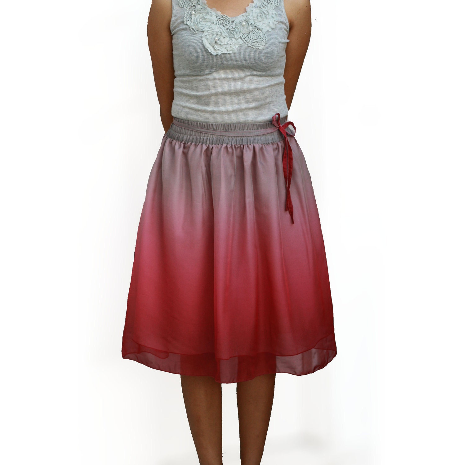 ombre pink and grey chiffon midi skirt