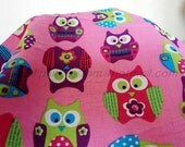 0223 - 1  Meter Cotton Fabric - Lovely  Owl on  Pink Background