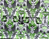 0661 - 1 Meter Cotton Twill Fabric - Skull ,Guitar and Bird on White