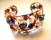 Beaded Freshwater Pearls and Czech Glass Adjustable Bracelet