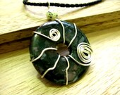 Green Moss Agate Donut Wirework Necklace