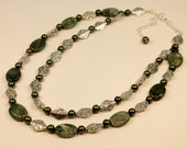 New Canadian Jade, Green Glass Pearls & Silver 2-strand Necklace