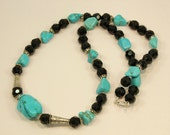 Turquoise Dyed Howlite, Black Chez Glass & Silver Necklace