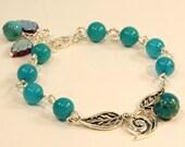 Blue Jade, Imperial Jasper, Czech Glass, Swarovski Element & Silver Bracelet