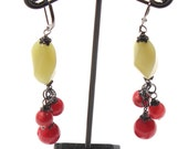 Ruby and Lime dyed Jade & Gunmetal Dangle Earrings