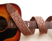 Comfortable Guitar Strap Orange and Rust Circle Print,Adjustable with Brass Hardware and Suede Leather Ends