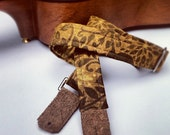 Ukulele Strap in Garden Vine Print, Breathable and Adjustable with Brown Suede Ends