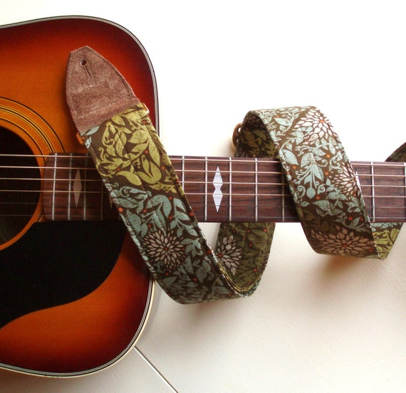Guitar Strap in Hipster Mossy Green Leaves with Brass or Silver Hardware and suede Leather Ends