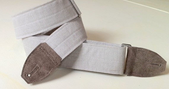Linen Guitar Strap in White Stone with Suede Leather Ends and Brass or Silver Hardware, Adjustable and Comfortable