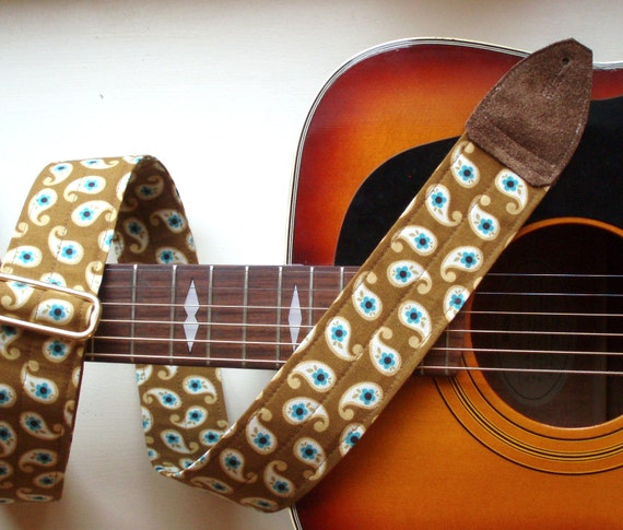 Guitar Strap in Blue Paisley on Brown, Adjustable and Comfortable with Brass Hardware and Suede Leather Ends