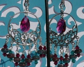 Bohemian Teal and Ruby Red Sterling Silver Filigree Chandelier Earrings