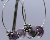 Sterling Silver Hoop Earrings- Grape Escape Organic Lampwork Beads