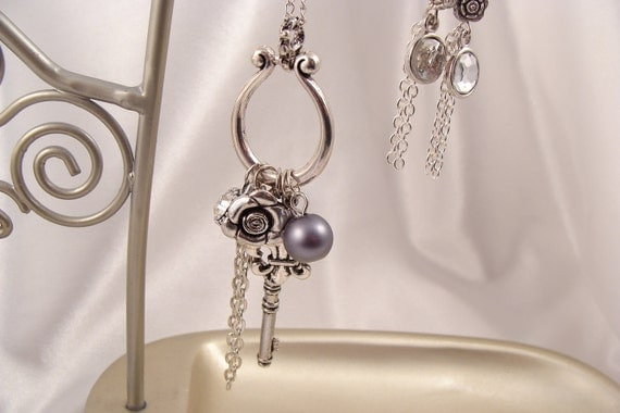 CHARM NECKLACE and EARRING set with Key Pearl Rose with Silver Colored French Hooks Free Shipping