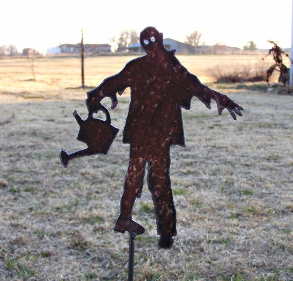 Zombie undead garden stake with watering can